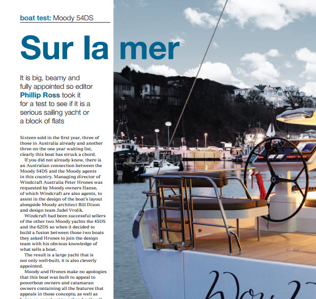 December 2014 Phillip Ross Reviews the Moody 54DS for Cruising Helmsman